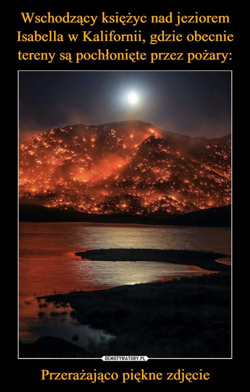 Wschodzący księżyc nad jeziorem Isabella w Kalifornii, gdzie obecnie tereny są pochłonięte przez pożary: Przerażająco piękne zdjęcie