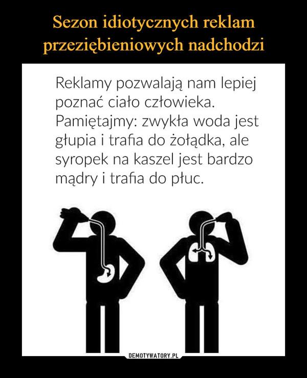 –  Reklamy pozwalają nam lepiej poznać ciało człowieka. Pamiętajmy: zwykła woda jest głupia i trafia do żołądka, ale syropek na kaszel jest bardzo mądry i trafia do płuc.