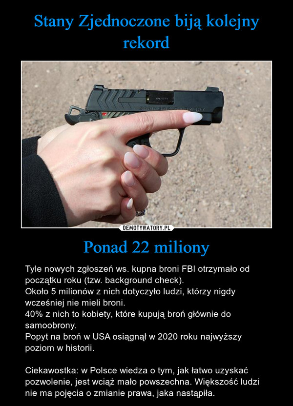 Ponad 22 miliony – Tyle nowych zgłoszeń ws. kupna broni FBI otrzymało od początku roku (tzw. background check).Około 5 milionów z nich dotyczyło ludzi, którzy nigdy wcześniej nie mieli broni. 40% z nich to kobiety, które kupują broń głównie do samoobrony.Popyt na broń w USA osiągnął w 2020 roku najwyższy poziom w historii.Ciekawostka: w Polsce wiedza o tym, jak łatwo uzyskać pozwolenie, jest wciąż mało powszechna. Większość ludzi nie ma pojęcia o zmianie prawa, jaka nastąpiła.