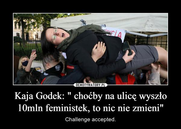 """Kaja Godek: """" choćby na ulicę wyszło 10mln feministek, to nic nie zmieni"""" – Challenge accepted."""