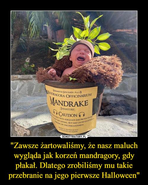 """""""Zawsze żartowaliśmy, że nasz maluch wygląda jak korzeń mandragory, gdy płakał. Dlatego zrobiliśmy mu takie przebranie na jego pierwsze Halloween"""""""