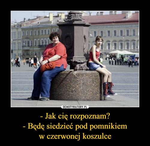 - Jak cię rozpoznam? - Będę siedzieć pod pomnikiem w czerwonej koszulce