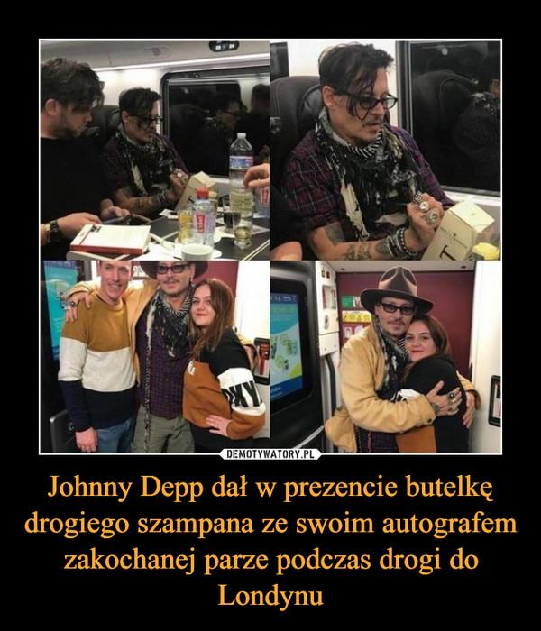 Johnny Depp dał w prezencie butelkę drogiego szampana ze swoim autografem zakochanej parze podczas drogi do Londynu –