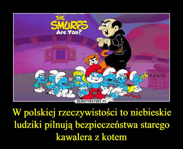 W polskiej rzeczywistości to niebieskie ludziki pilnują bezpieczeństwa starego kawalera z kotem –