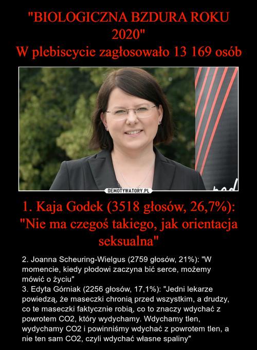 """""""BIOLOGICZNA BZDURA ROKU 2020"""" W plebiscycie zagłosowało 13 169 osób 1. Kaja Godek (3518 głosów, 26,7%): """"Nie ma czegoś takiego, jak orientacja seksualna"""""""