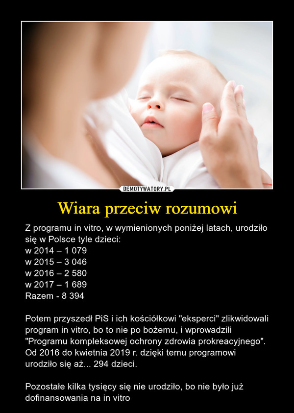 """Wiara przeciw rozumowi – Z programu in vitro, w wymienionych poniżej latach, urodziło się w Polsce tyle dzieci:w 2014 – 1 079w 2015 – 3 046 w 2016 – 2 580 w 2017 – 1 689 Razem - 8 394Potem przyszedł PiS i ich kościółkowi """"eksperci"""" zlikwidowali program in vitro, bo to nie po bożemu, i wprowadzili """"Programu kompleksowej ochrony zdrowia prokreacyjnego"""". Od 2016 do kwietnia 2019 r. dzięki temu programowi urodziło się aż... 294 dzieci. Pozostałe kilka tysięcy się nie urodziło, bo nie było już dofinansowania na in vitro"""
