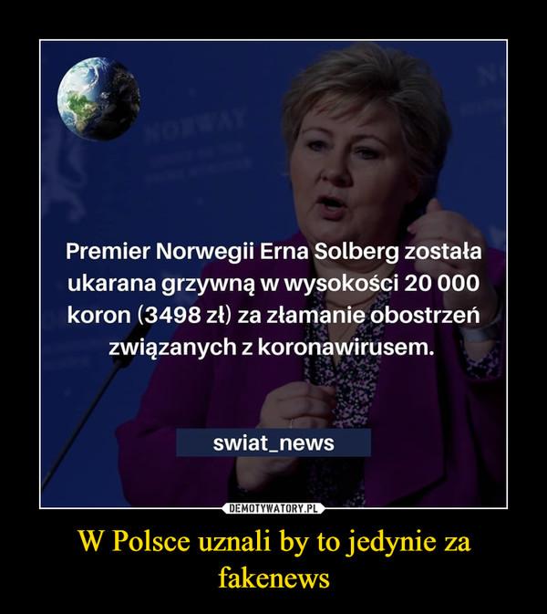 W Polsce uznali by to jedynie za fakenews –
