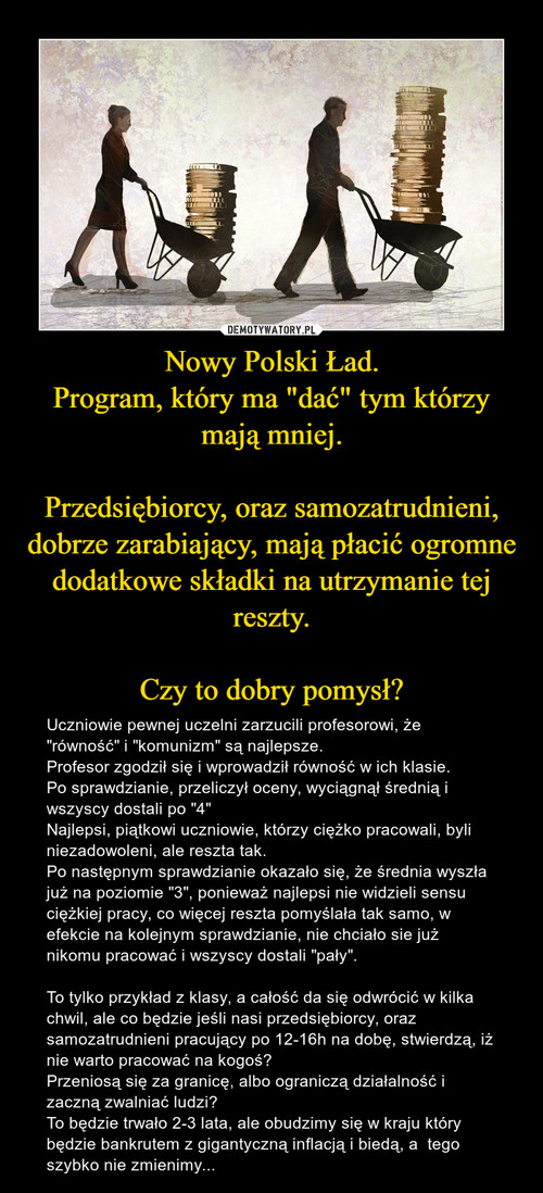 """Nowy Polski Ład. Program, który ma """"dać"""" tym którzy mają mniej.  Przedsiębiorcy, oraz samozatrudnieni, dobrze zarabiający, mają płacić ogromne dodatkowe składki na utrzymanie tej reszty.  Czy to dobry pomysł?"""