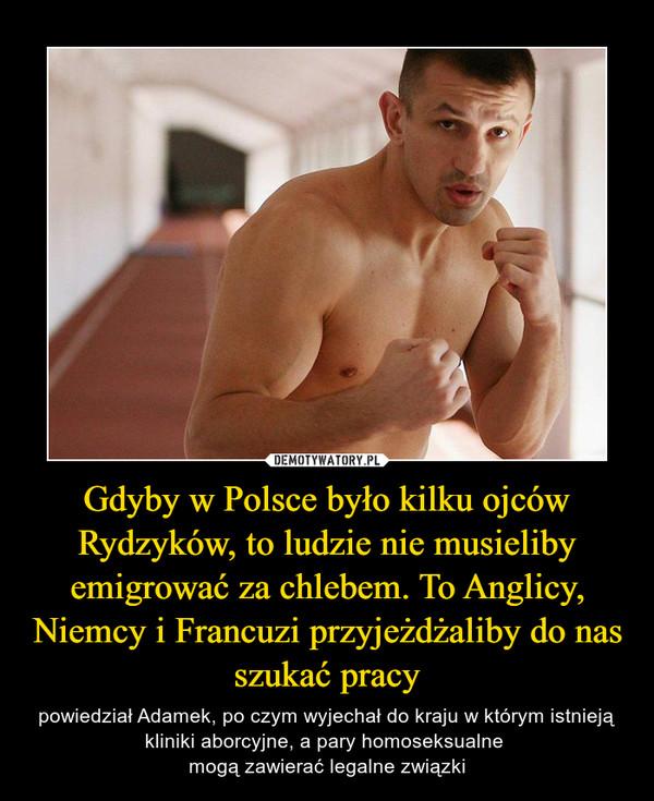 Gdyby w Polsce było kilku ojców Rydzyków, to ludzie nie musieliby emigrować za chlebem. To Anglicy, Niemcy i Francuzi przyjeżdżaliby do nas szukać pracy – powiedział Adamek, po czym wyjechał do kraju w którym istnieją kliniki aborcyjne, a pary homoseksualne mogą zawierać legalne związki