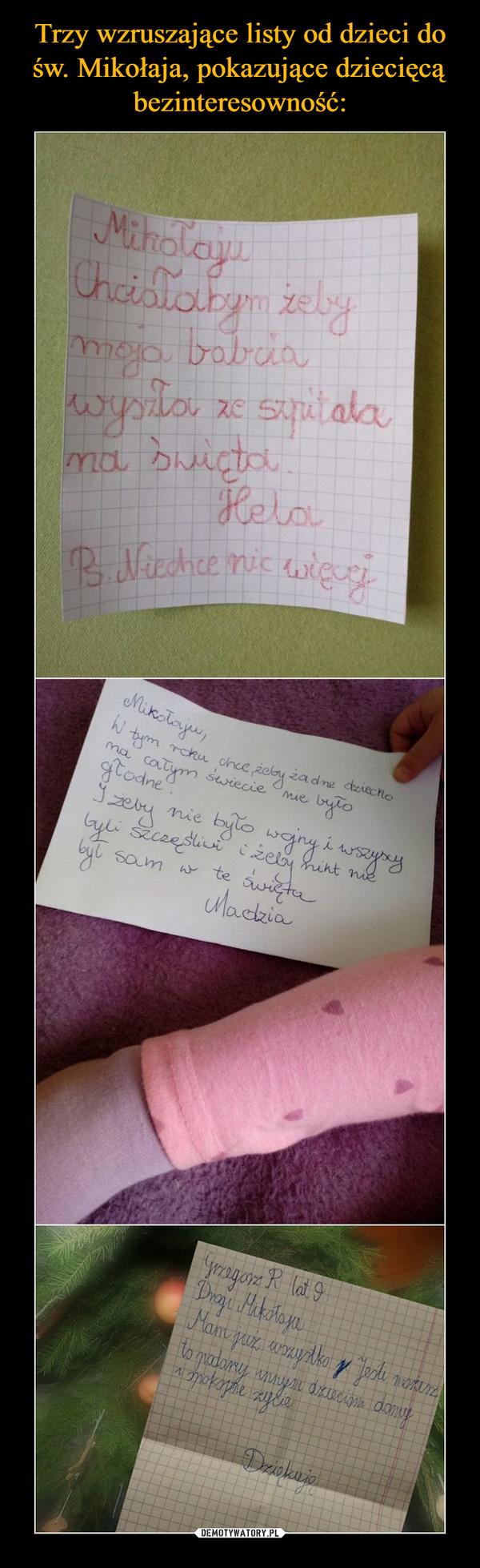Trzy wzruszające listy od dzieci do św. Mikołaja, pokazujące dziecięcą bezinteresowność: